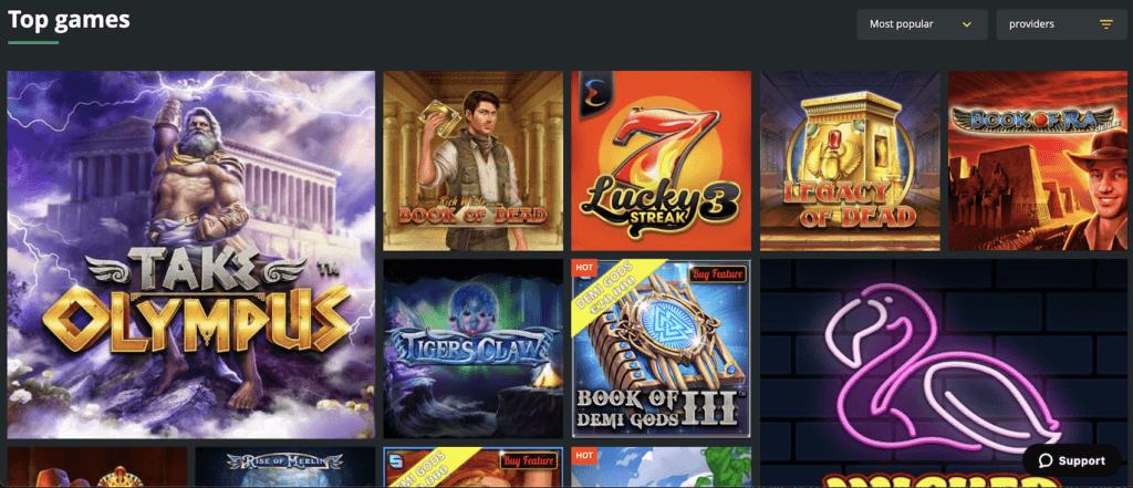 Die Spielauswahl bei1Bet Casino