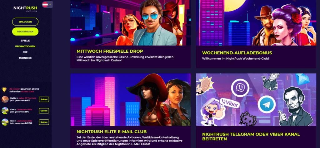 Nightrush - Aktionen und Turniere