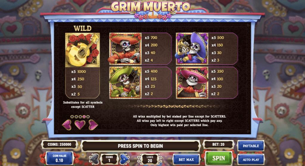 Grim MuertoSymbole & Auszahlungen