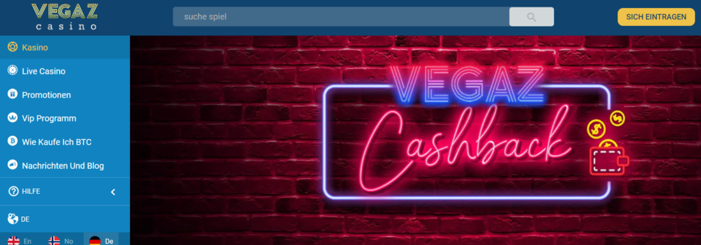 Vegaz Casino - Cashback