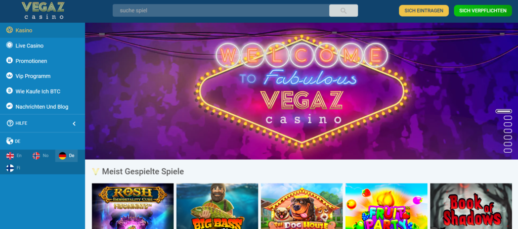 Vegaz Casino - Slots Lobby
