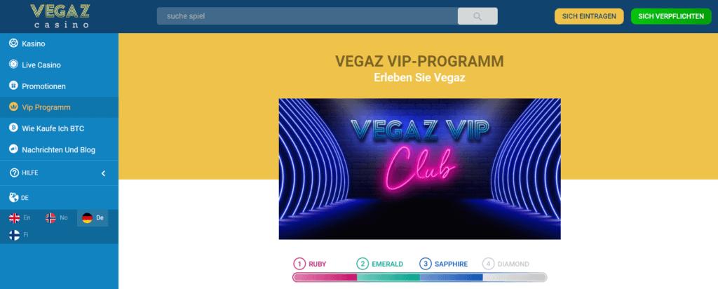Vegaz Casino - VIP
