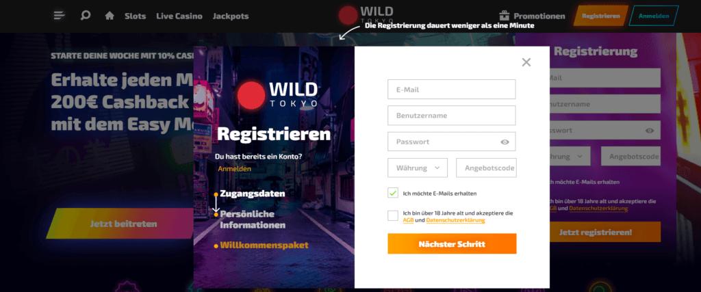 Wild Tokyo - Registrieren