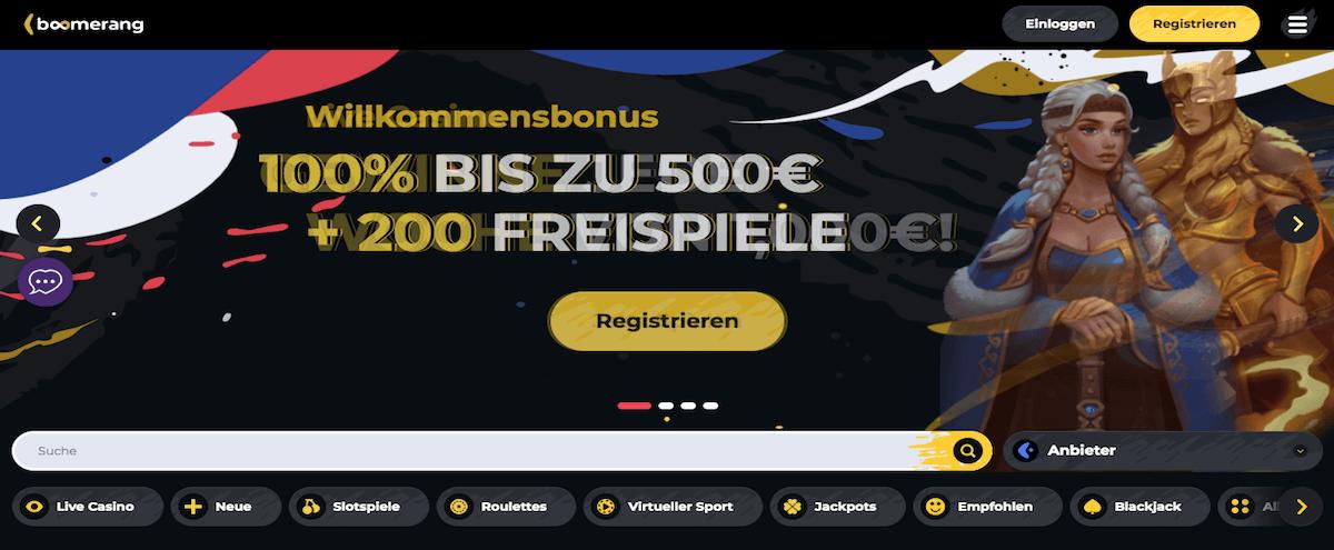 Boomerang Casino Homepage