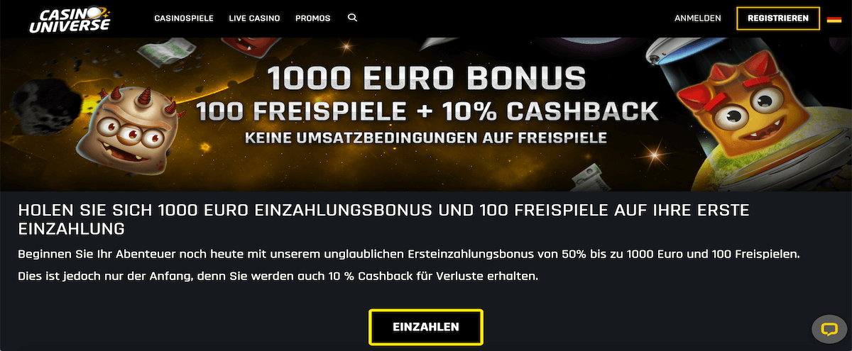 Casino Universe Willkommensbonus