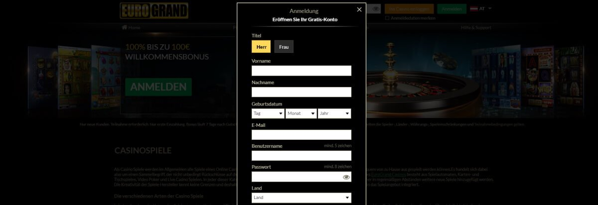 Eurogrand - Registrieren