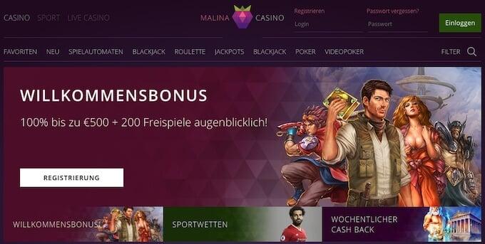 Malina Casino Frontpage