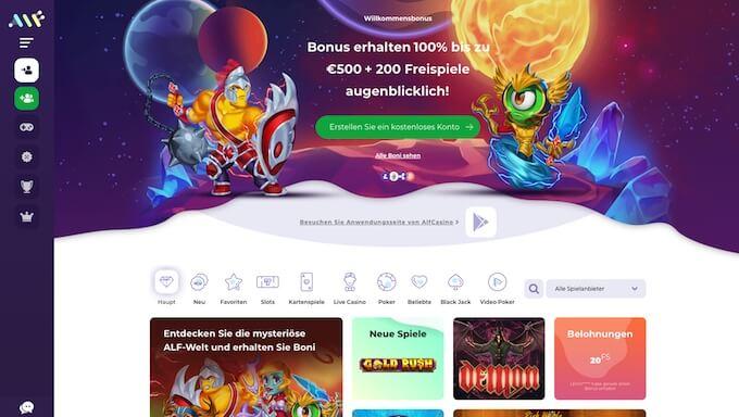 Alf Casino Frontpage