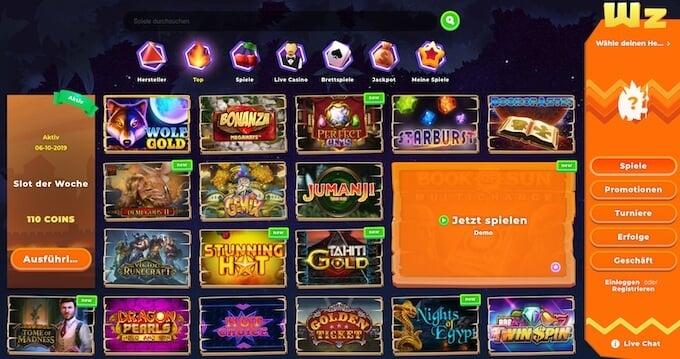 Wazamba Casino Spielangebot