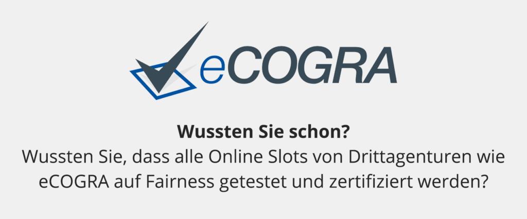 eCogra testet und zertifiziert Online Casino Produkte.