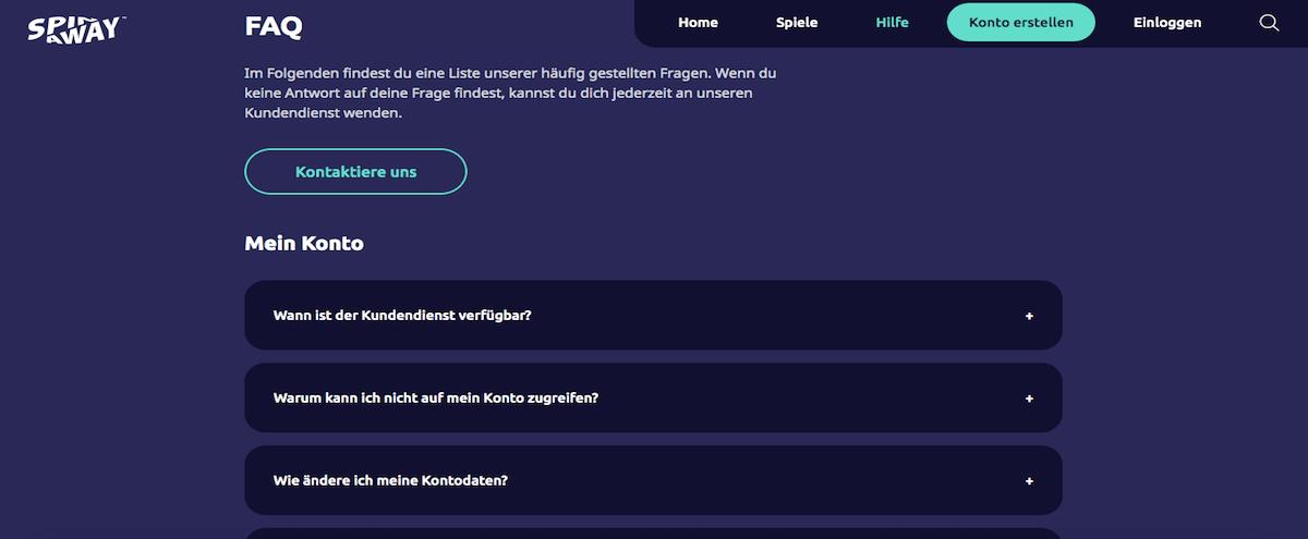 Spin Away FAQ Bereich