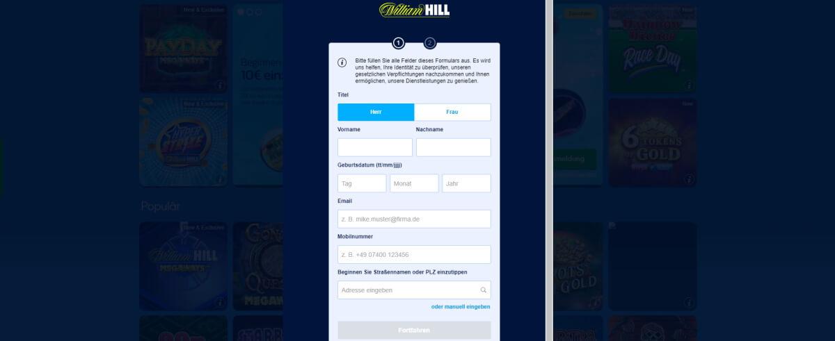 William Hill Registrieren